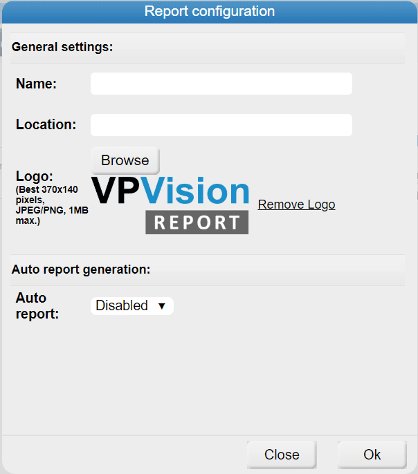 VPVision Report configuration set-up